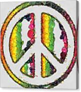 Peace Sign Fruits And Vegetables Canvas Print