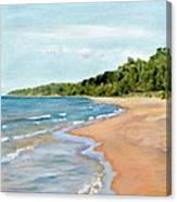 Peaceful Beach At Pier Cove Canvas Print
