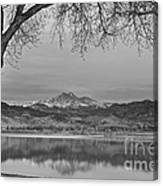 Peaceful Early Morning First Light Longs Peak View Bw Canvas Print