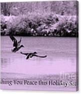 Peaceful Holidays Card - Winter Ducks Canvas Print