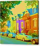 Peaceful Painted Pastel Rowhouses Printemps Plateau Montreal Scene Du Rue Carole Spandau Canvas Print