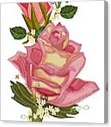 Peach Rose and Bud With Tendrils Canvas Print