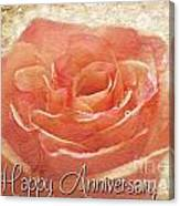 Peach Rose Anniversary Card Canvas Print