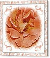 Peach Rose Sqrare Digital Paint Canvas Print