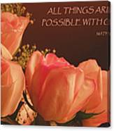 Peach Roses With Scripture Canvas Print