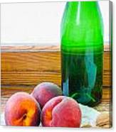 Peaches And Walnuts With Bottle Canvas Print