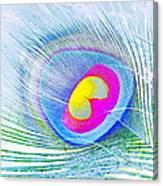 Peacock Feather Neon Canvas Print