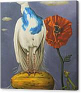 Peacock On A Papaya Canvas Print