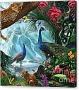 Peacocks And Leopards Canvas Print