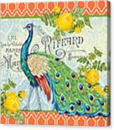 Peacocks In The Rose Garden-3 Canvas Print
