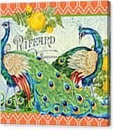 Peacocks In The Rose Garden Canvas Print