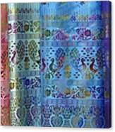 Peacocks On Silk Canvas Print