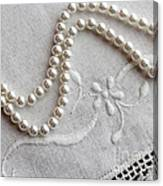 Pearls And Old Linen Canvas Print
