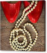 Pearls In Red Shoes Canvas Print