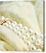Pearls On White Velvet Canvas Print