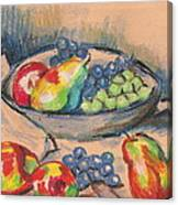 Pears And Grapes 2 Canvas Print