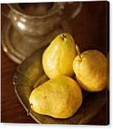 Pears And Great Grandpa's Silver Canvas Print
