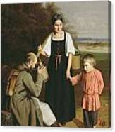 Peasant Offering A Soldier A Drink Canvas Print