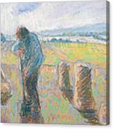 Peasants In The Fields Canvas Print