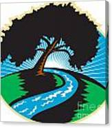 Pecan Tree Winding River Sunrise Retro Canvas Print