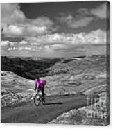 Pedalling The Pass In Pink  Canvas Print