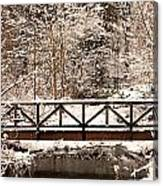 Pedestrian Bridge In The Snow Canvas Print