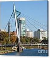 Pedestrian Bridge Over Arkansas River In Wichita Canvas Print
