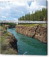 Pedestrian Bridge Over Yukon River In Miles Canyon Near Whitehorse-yk Canvas Print