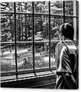 Peering Out The Window Bw Canvas Print