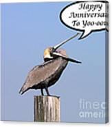 Pelican Anniversary Card Canvas Print