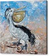 Pelican Beach Walk - Impressionist Canvas Print