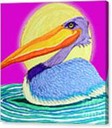 Pelican On The Water 2 Canvas Print