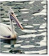 Pelican With Abstract Water Reflections I Canvas Print