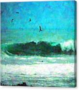 Pelicans Enjoying The Mighty Pacific Impressionism Canvas Print