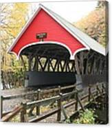 Pemigewasset River Covered Bridge In Fall Canvas Print
