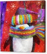 Penguin Happy Holidays Photo Art Canvas Print
