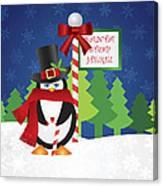 Penguin Top Hat At Santa Stop Here Sign Canvas Print