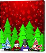 Penguins Carolers Singing With Red Winter Scene Illustration Canvas Print