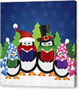 Penguins Carolers With Night Winter Scene Canvas Print