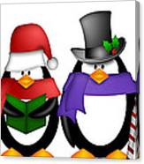 Penguins Singing Christmas Carol Cartoon Clipart Canvas Print