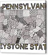 Pennsylvania Map White Canvas Print
