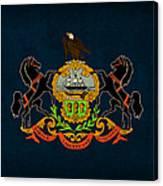 Pennsylvania State Flag Art On Worn Canvas Canvas Print