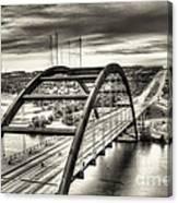 Pennybacker Bridge Bw Canvas Print