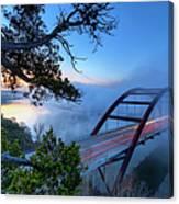 Pennybacker Bridge In Morning Fog Canvas Print