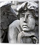 Pensive Angel Detail Monumental Cemetery Milan Italy Canvas Print