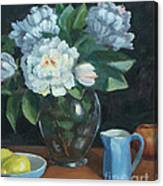 Peonies In Glass Vase Canvas Print