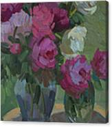 Peonies In The Shade Canvas Print