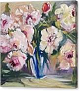 Peons In Blue Vase Canvas Print