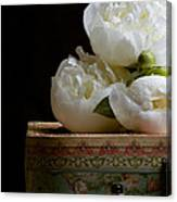 Peony Flowers On Old Hat Box Canvas Print