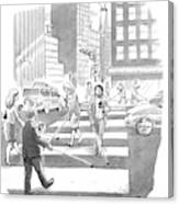 People Are Crossing The Street Looking Canvas Print